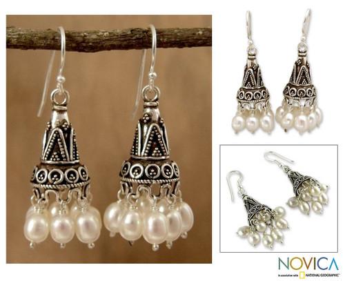 Pearl chandelier earrings 'Indian Ivory'