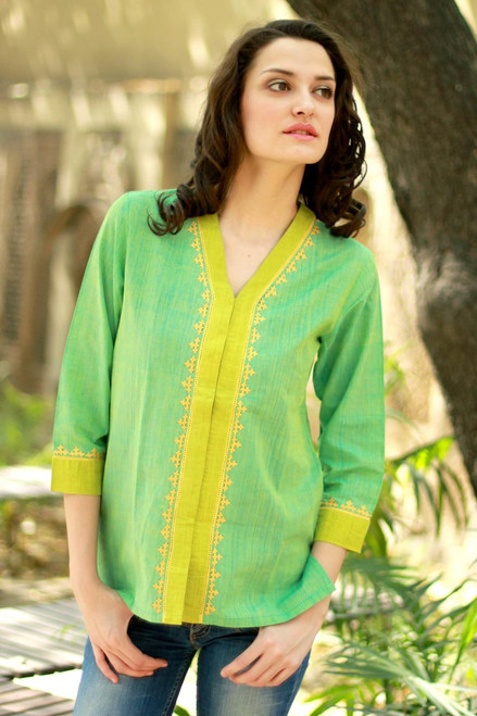 Green and Yellow Embroidered Cotton Blouse 'Refreshing'