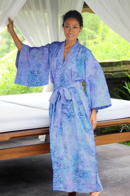 Women's Batik Cotton Robe 'Rushing River'