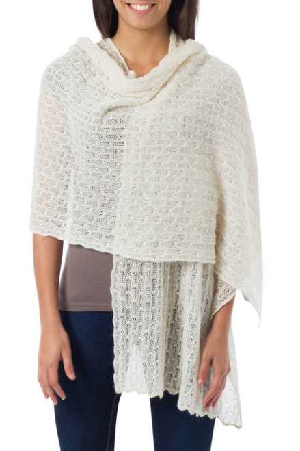 Pure Alpaca Wool Shawl from Peru 'Muse'