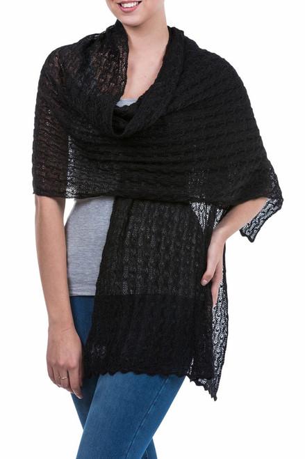 Alpaca Wool Solid Shawl from Peru 'Muse in Black'
