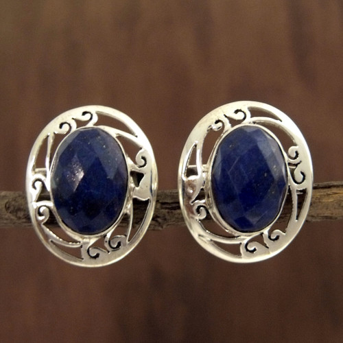 Women's Earrings Sterling Silver and Lapis Lazuli Jewelry 'Seductive Blue'