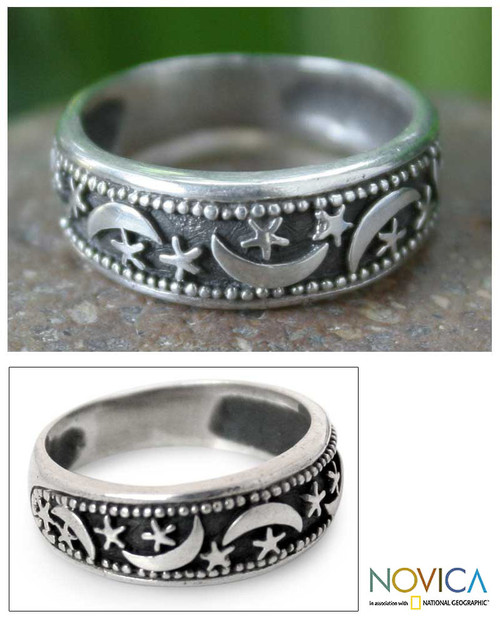 Hand Made Sterling Silver Band Ring from Thailand 'Moon Magic'