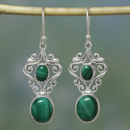 Fair Trade Jewelry Sterling Silver Malachite Earrings 'Natural Majesty'