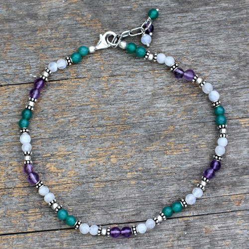 Amethyst and Rainbow Moonstone Anklet 'Head Over Heels'