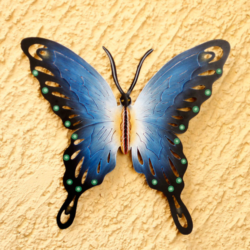 Unique Blue Butterfly Steel Wall Sculpture Mexico 'Soul of Harmony'