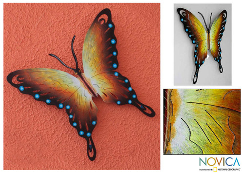 Hand Made Orange Butterfly Steel Wall Sculpture Mexico 'Soul of Happiness'