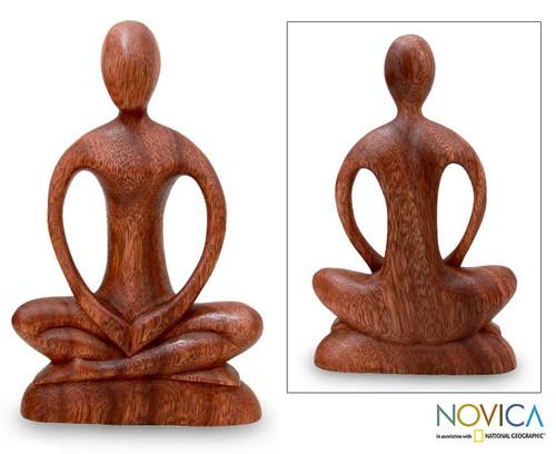 Handcrafted Wood Yoga Sculpture 'Meditative Calm'