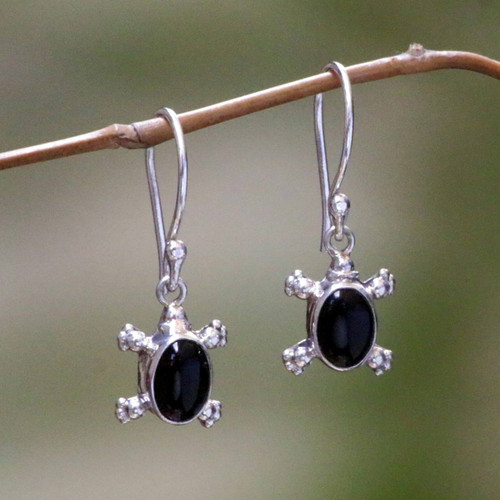 Handmade Sterling Silver and Onyx Dangle Earrings 'Turtle Trails'