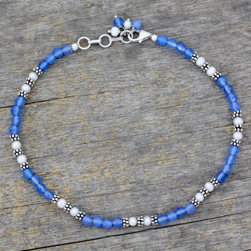 Chalcedony and Cultured Pearl Anklet 'View of the Sky'