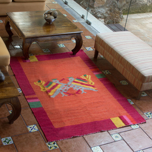 Bird Wool Area Rug from Guatemala 'Maya Bird at Sunset'