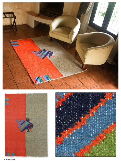 Animal Themed Wool Area Rug 'Maya Bluebird'