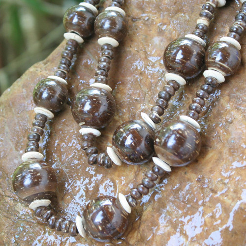 Unique Coconut Shell Beaded Necklace 'Forest Fiesta'