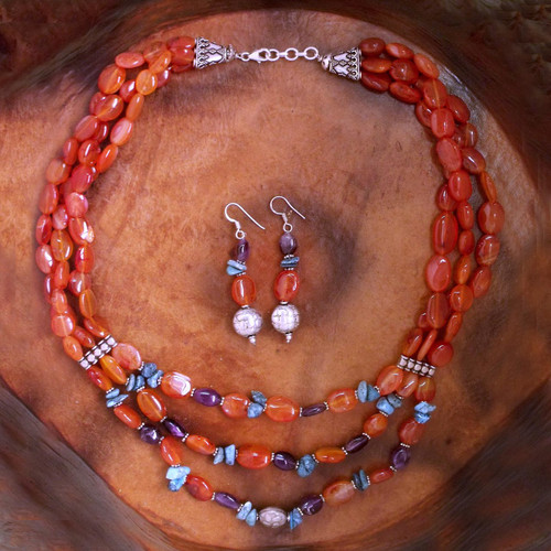 Carnelian and amethyst jewelry set 'Enthralled'