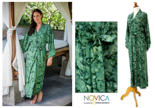 Women's Hand Made Batik Patterned Robe 'Green Destiny'