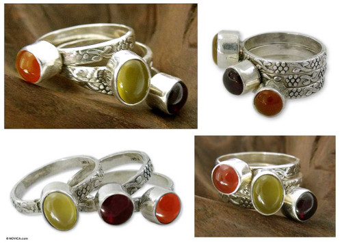 Garnet and carnelian stacking rings (Set of 3) 'Mystical Trio'