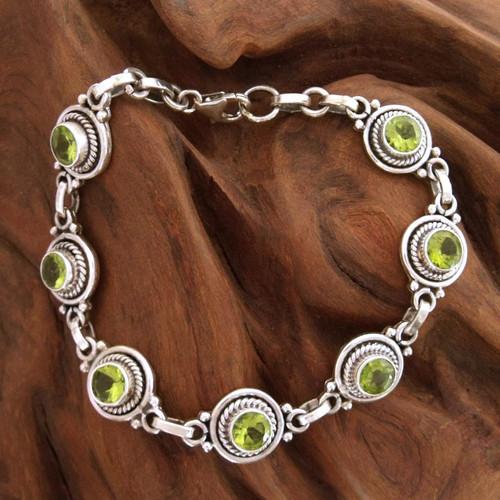 Peridot Bracelet Women's Sterling Silver Bracelet 'Green Mystique'