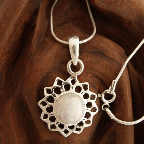 Fair Trade Jewelry Sterling Silver and Moonstone Necklace 'Midnight Sun'