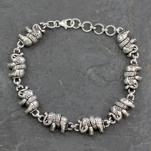 Elephant Jewelry Bracelet Sterling Silver from India 'Fortunate Elephants'