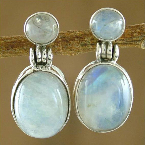 Handcrafted Sterling Silver and Moonstone Earrings 'Moonlight Delight'