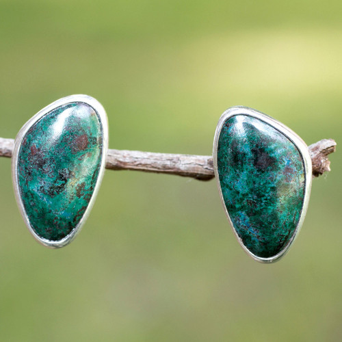 Taxco Fine Silver and Chrysocolla Earrings 'Allure'