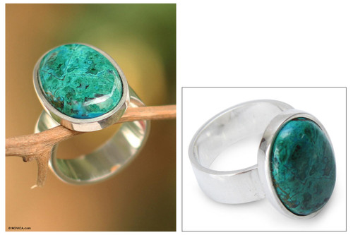 Hand Crafted Sterling Silver and Chrysocolla Ring 'Encounter'