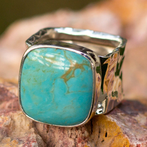 Taxco Silver and Natural Turquoise Cocktail Ring 'Always Azure'