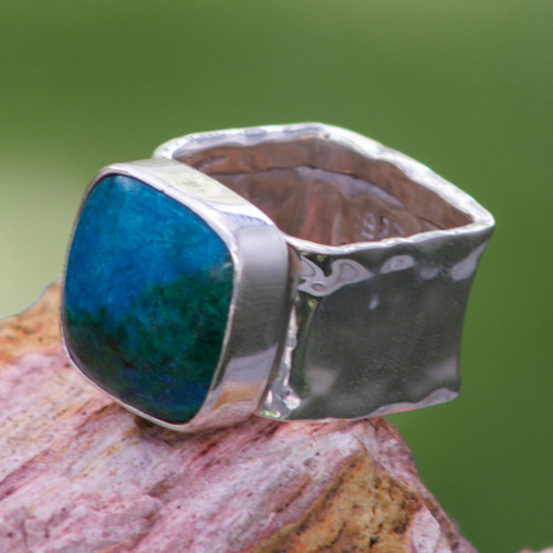 Collectible Taxco Silver Chrysocolla Cocktail Ring 'Always'