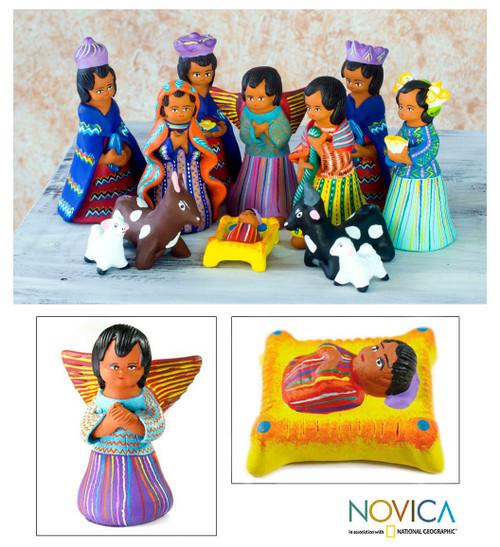 Unique Ceramic Nativity Scene Sculpture (Set of 12) 'Chichicastenango'
