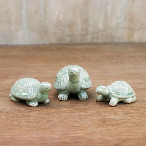 Celadon Ceramic Sculptures (Set of 3) 'Lucky Turtles'