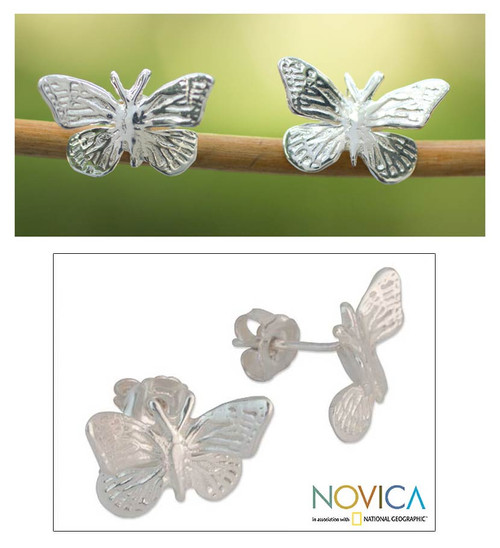 Unique Sterling Silver Button Earrings from Mexico 'Monarch Butterfly'
