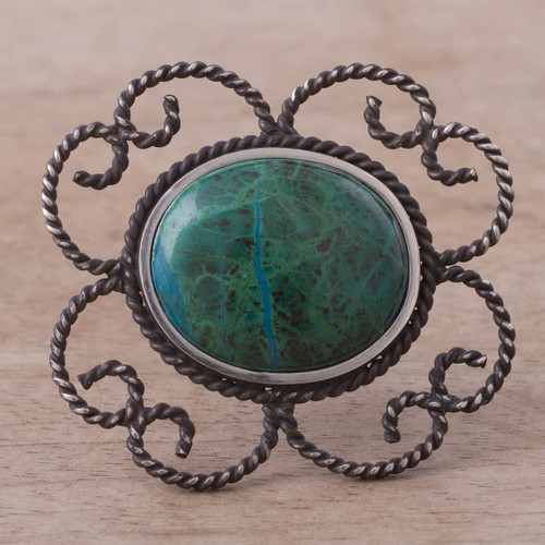 Floral Sterling Silver Chrysocolla Brooch Pin 'Sea of Tranquility'