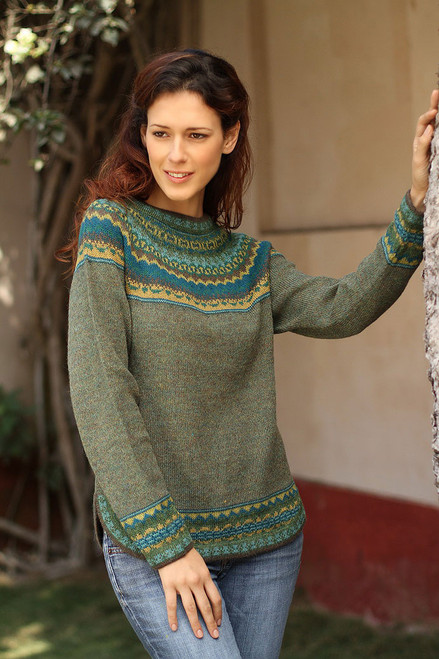 Hand Crafted Alpaca Pullover Sweater 'Inca Valley'