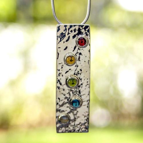 Women's Modern Sterling Silver Multigem Citrine Necklace 'Taxco Harmony'