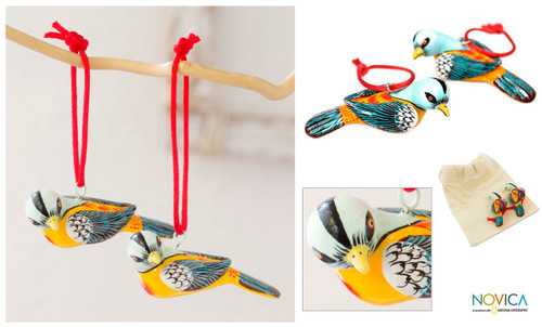 Handcrafted Pair of Ceramic Bird Ornaments 'Seven Colors'