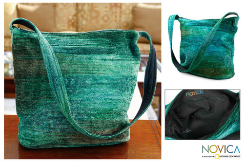 Hand Crafted Bamboo Chenille Shoulder Bag  'Jade Magic'