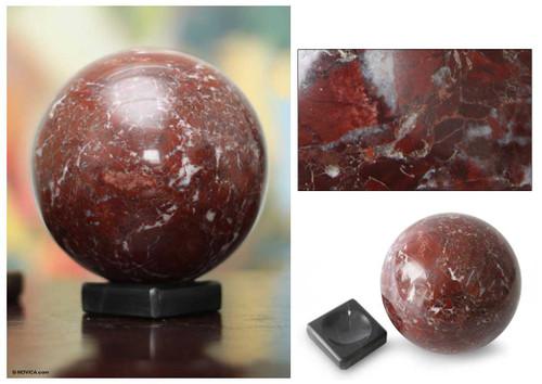 Hand Carved Garnet Globe Gemstone Sphere 'Inner Fire'