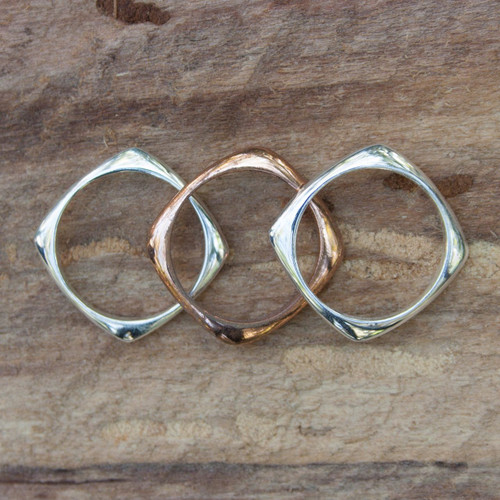 Handcrafted Copper Sterling Silver Stacking Rings (Set of 3) 'Taxco Destiny'