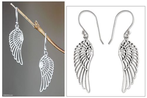 Sterling Silver Dangle Earrings 'Angelic'