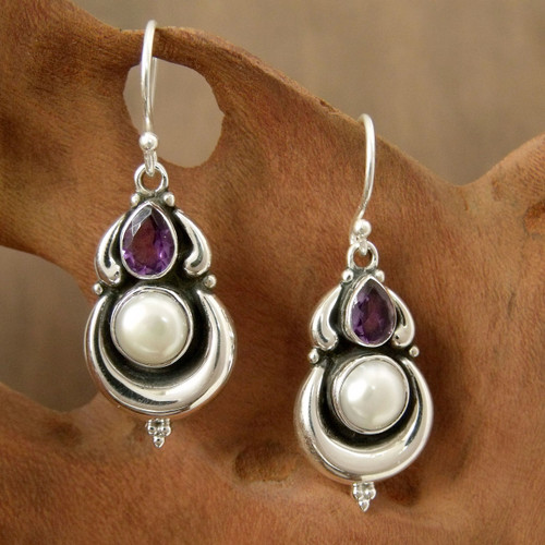 Pearls and Amethyst on Sterling Silver Earrings from India 'Jaipur Moon'