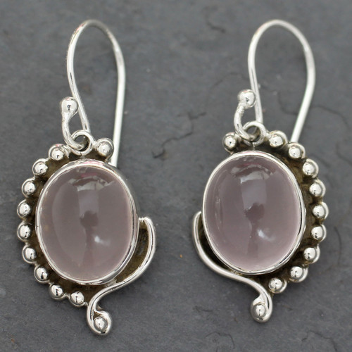 Rose Quartz Earrings in Sterling Silver from India Jewelry 'Delhi Romance'