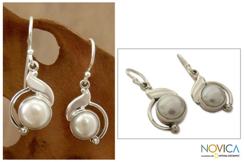 Sterling Silver and Pearl Earrings Artisan Jewelry 'India Rapture'