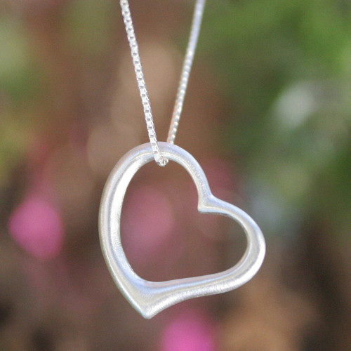 Fair Trade Heart Shaped Sterling Silver Pendant Necklace 'Living Love'