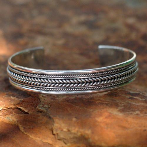 Sterling Silver Cuff Bracelet 'Lanna Illusions'