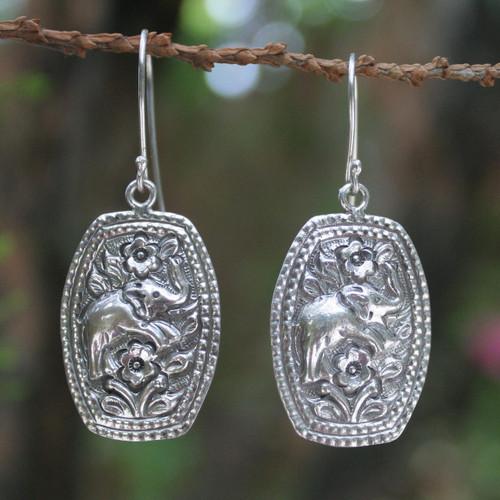 Sterling silver flower earrings 'Elephant Roses'
