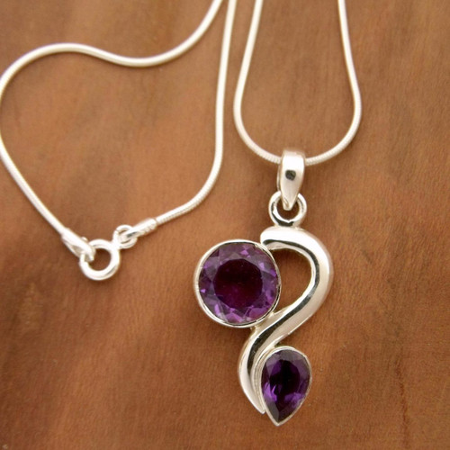Amethyst pendant necklace 'Delhi Dance'