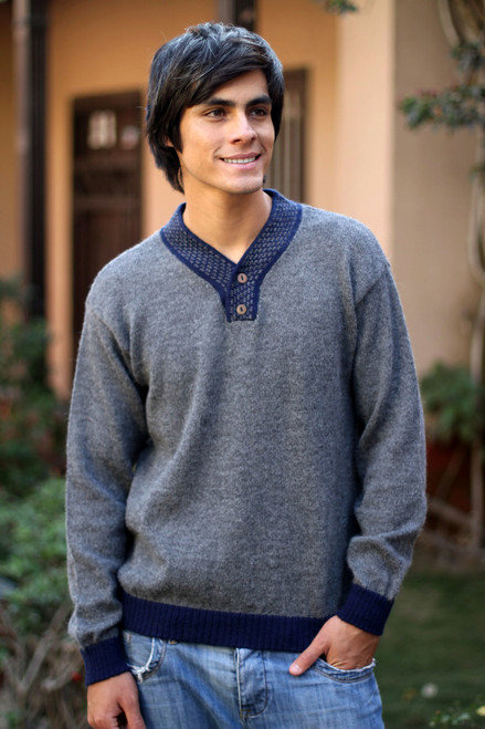 Men's Unique Alpaca Wool Blend Pullover Sweater 'Gray Day'