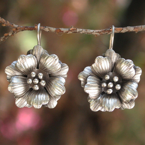 Floral Silver Drop Earrings 'Chiang Mai Rose'