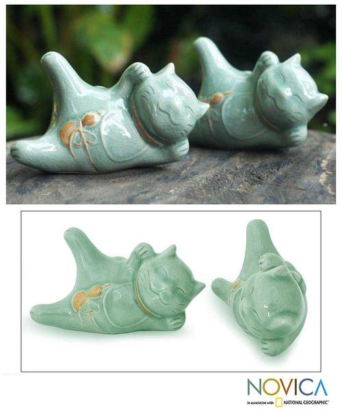 Celadon Ceramic Sculptures (Pair) 'Lucky Cats at Play'