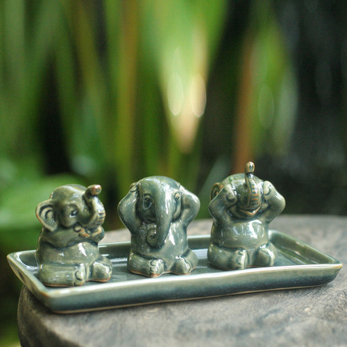 Unique Celadon Ceramic Figurines (Set of 3) 'Elephant Lessons'
